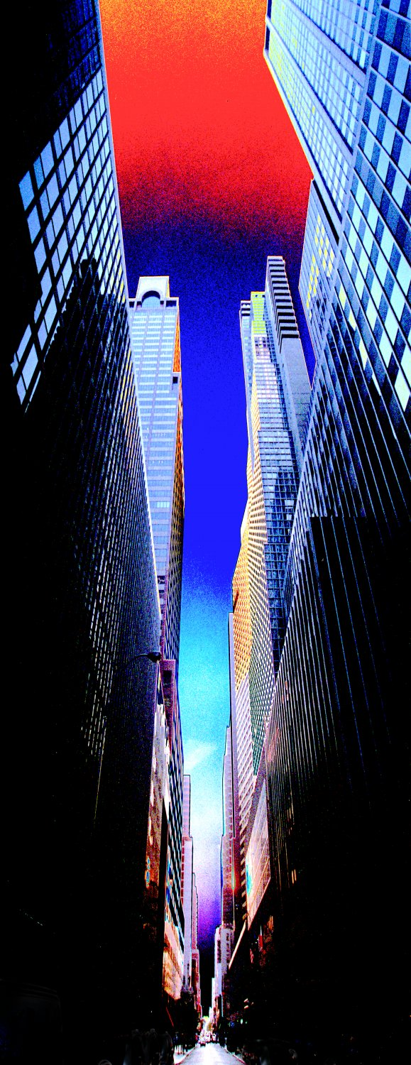 A view up looking up Lexington avenue in New York City Tall buildings form a canyon. Red sky canyons of New York - Manhattan canyons - Techno-Impressionist Museum - Techno-Impressionism - art - beautiful - photo photography picture - by Tony Karp