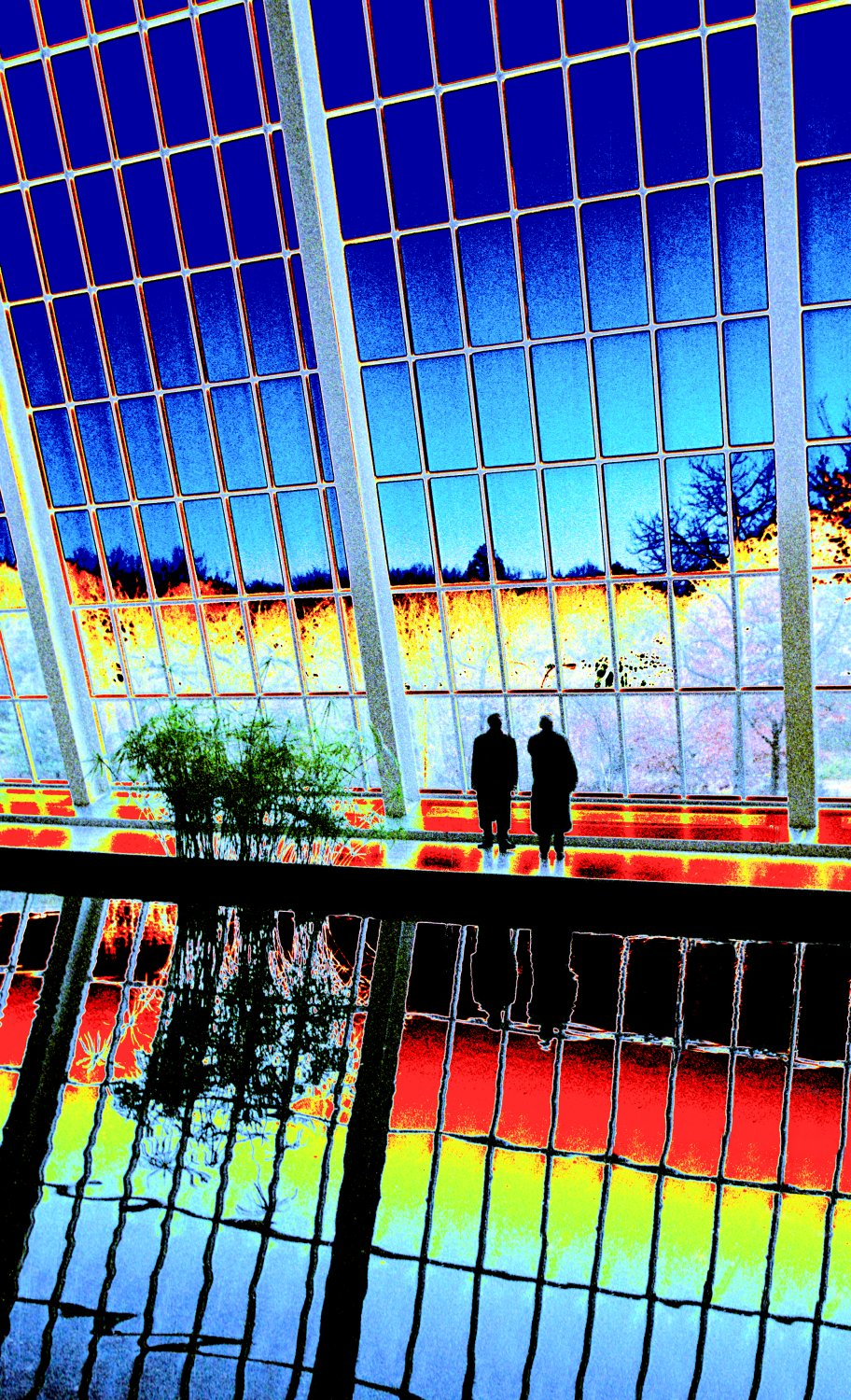 reflection in the pool in the Temple of Dendur in the Metropolitan Museum of Art - <center>Reagan and Gorbachev, 1984 - Techno-Impressionist Museum - Techno-Impressionism - art - beautiful - photo photography picture - by Tony Karp