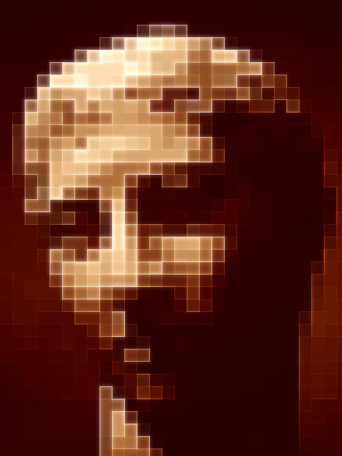 Portrait of the head of a statue from the Metropolitan Museum of Art Brown head made from brown squares, portrait that is an optical illusion - <center>Portrait in shades of brown - Techno-Impressionist Museum - Techno-Impressionism - art - beautiful - photo photography picture - by Tony Karp