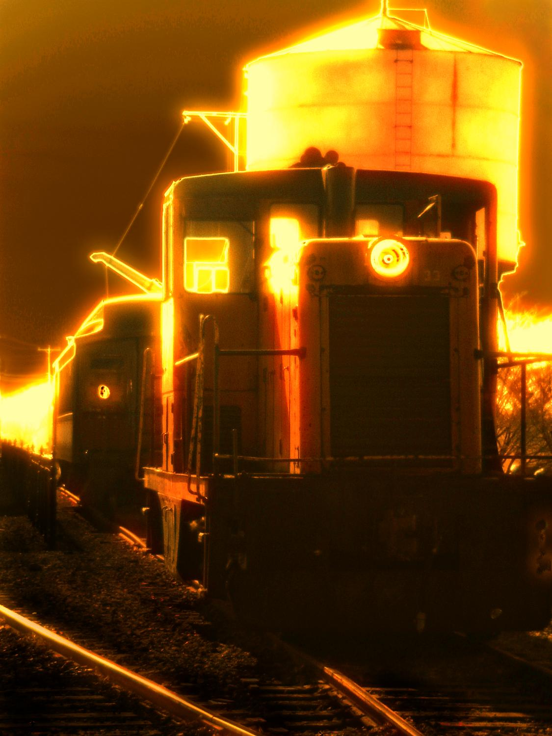 train in the train yard with water tower lit up in the back round train in Amish country train at Strasborg train yard in Lancaster PA - <center>Ghost train - Techno-Impressionist Museum - Techno-Impressionism - art - beautiful - photo photography picture - by Tony Karp