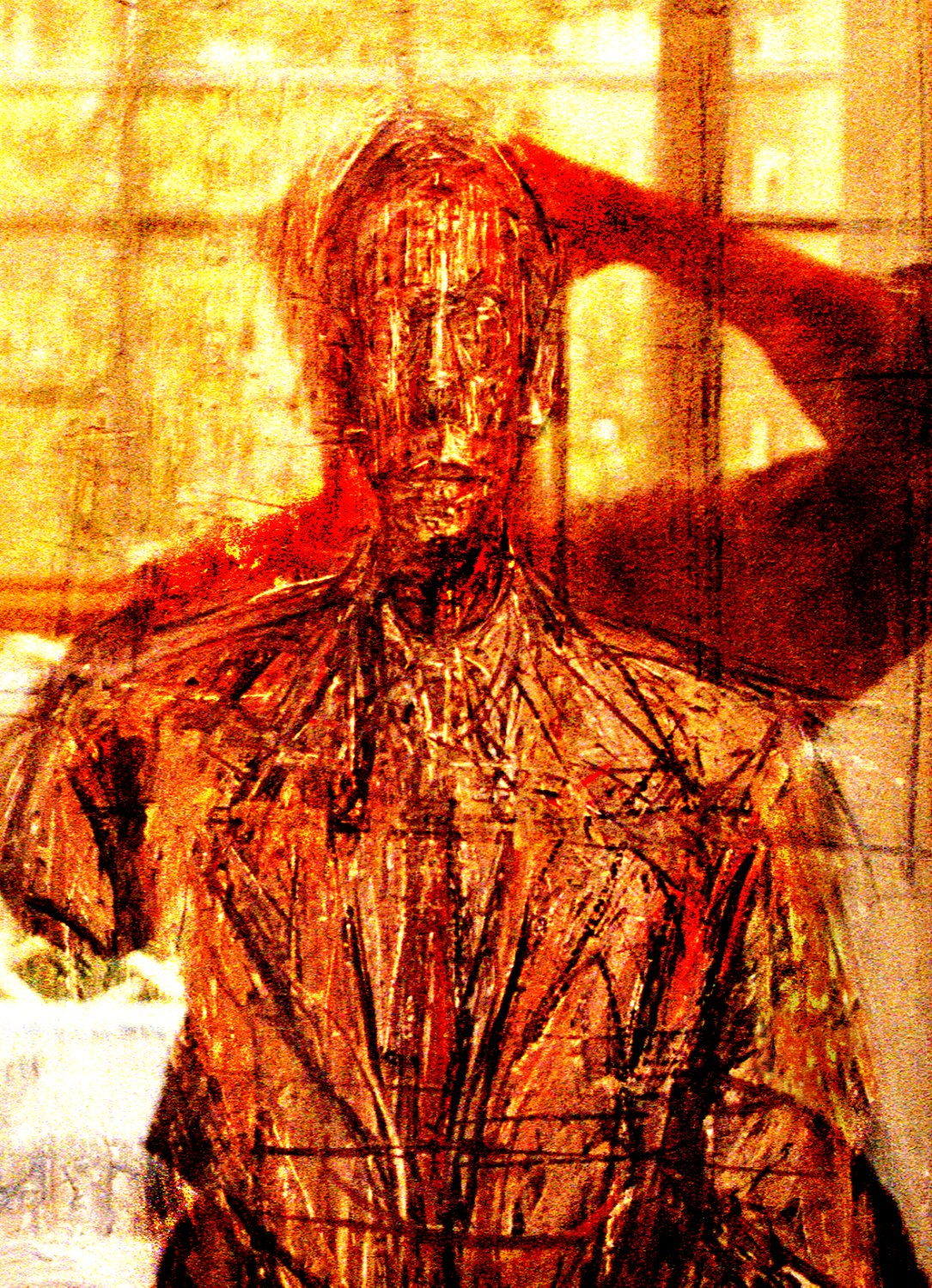 self portrait of Giacometti with Tony reflected in the glass in front of it - Merging with Giacometti - Techno-Impressionist Museum - Techno-Impressionism - art - beautiful - photo photography picture - by Tony Karp