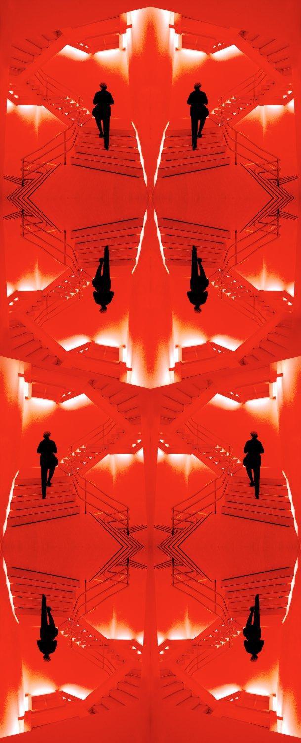artist's muse walking up the stairs at the Metropolitan Museum of Art. Image in repeated in the style of Escher vibrant red and black with white highlights - Hobbitt meets Escher - Techno-Impressionist Museum - Techno-Impressionism - art - beautiful - photo photography picture - by Tony Karp