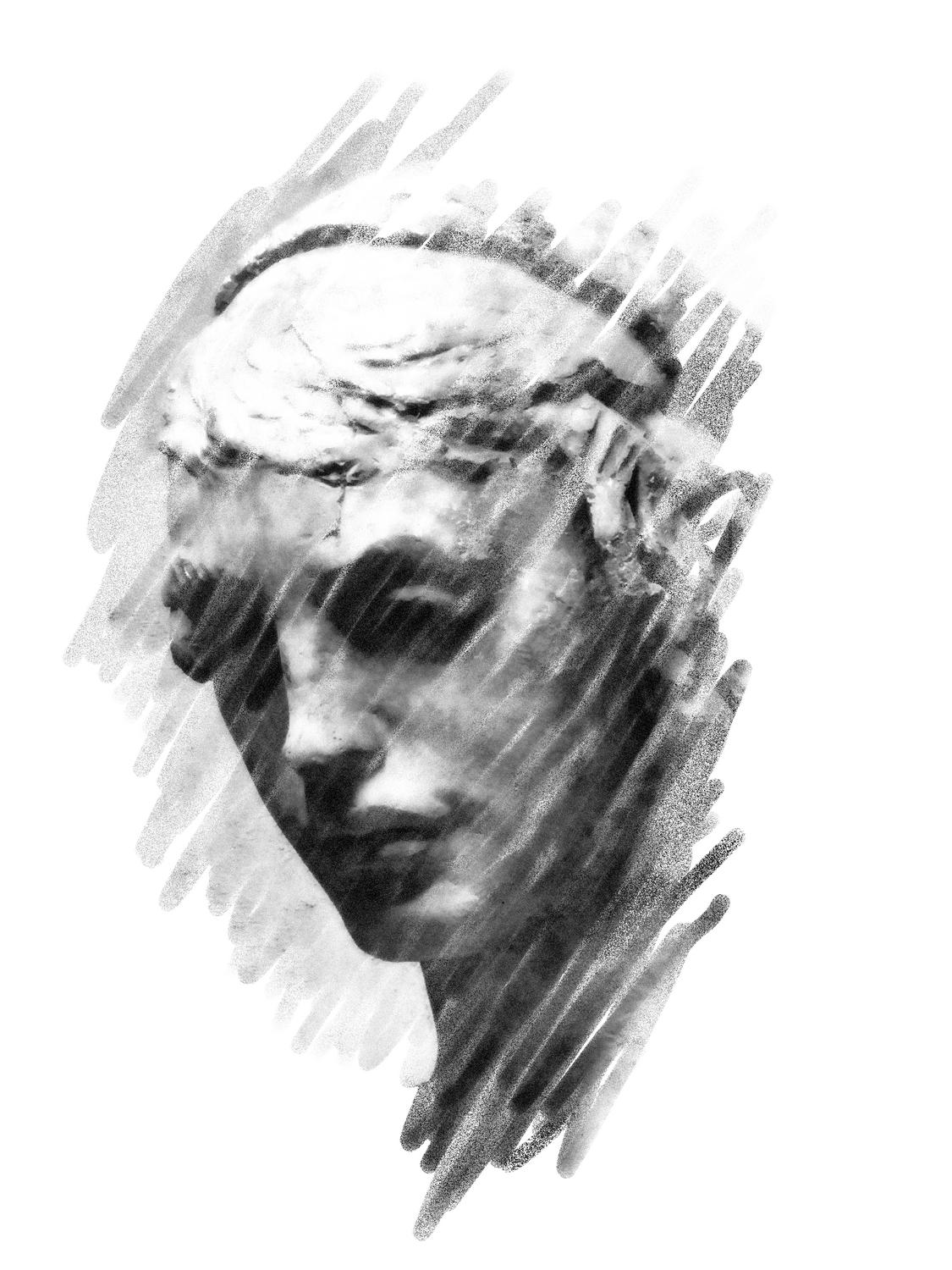 Face in black and white - by Tony Karp - Excissa, a virtual muse - Techno-Impressionist Museum - Techno-Impressionism - art - beautiful - photo photography picture - by Tony Karp