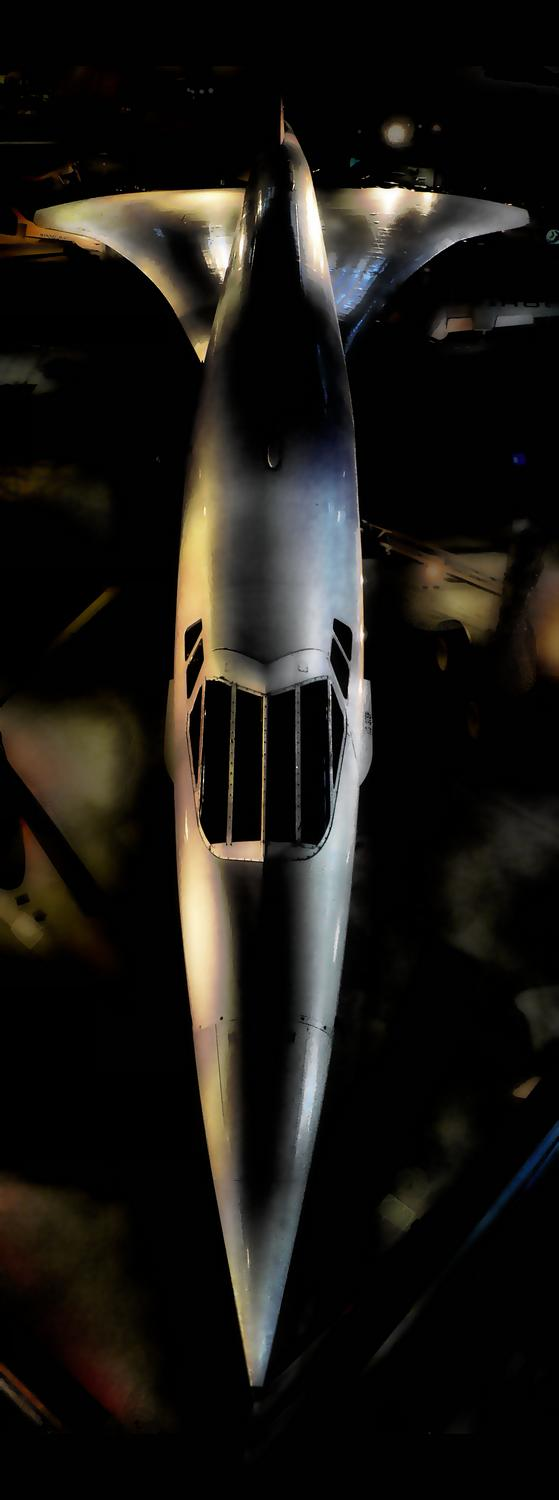 looking down at the Concorde in the National Air and Space Museum Steven F. Udvar-Hazy Center - Concorde - Techno-Impressionist Museum - Techno-Impressionism - art - beautiful - photo photography picture - by Tony Karp