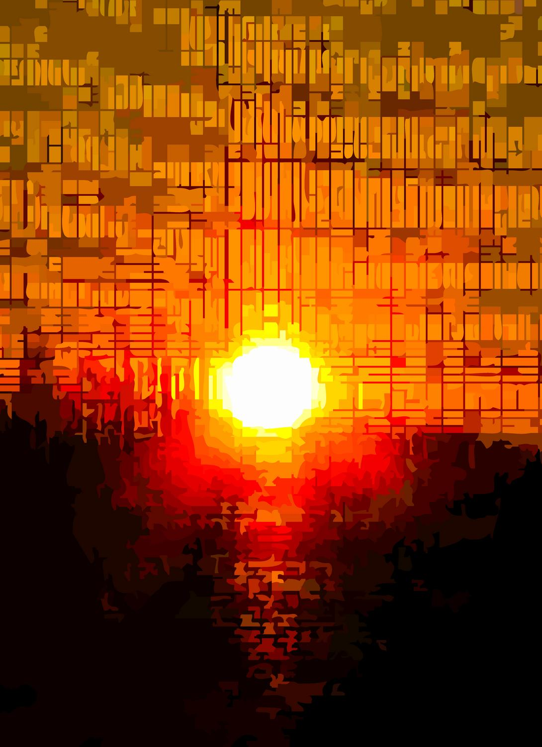 sunset through the screen on the porch #1 - This is the most powerful one in the series Sunset screen shot #1</center></Center><p></p> - Techno-Impressionist Museum - Techno-Impressionism - art - beautiful - photo photography picture - by Tony Karp