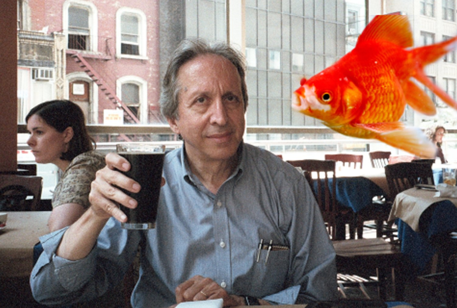 artist toasting his muse with gold fish - Tony Karp - Techno-Impressionist Museum - Techno-Impressionism - art - beautiful - photo photography picture - by Tony Karp